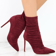 2018 Fashion New Womens Boots Sexy High Heels Pointed Toe Shoes Lady Big Over Size 40 41 42 43 aa0637