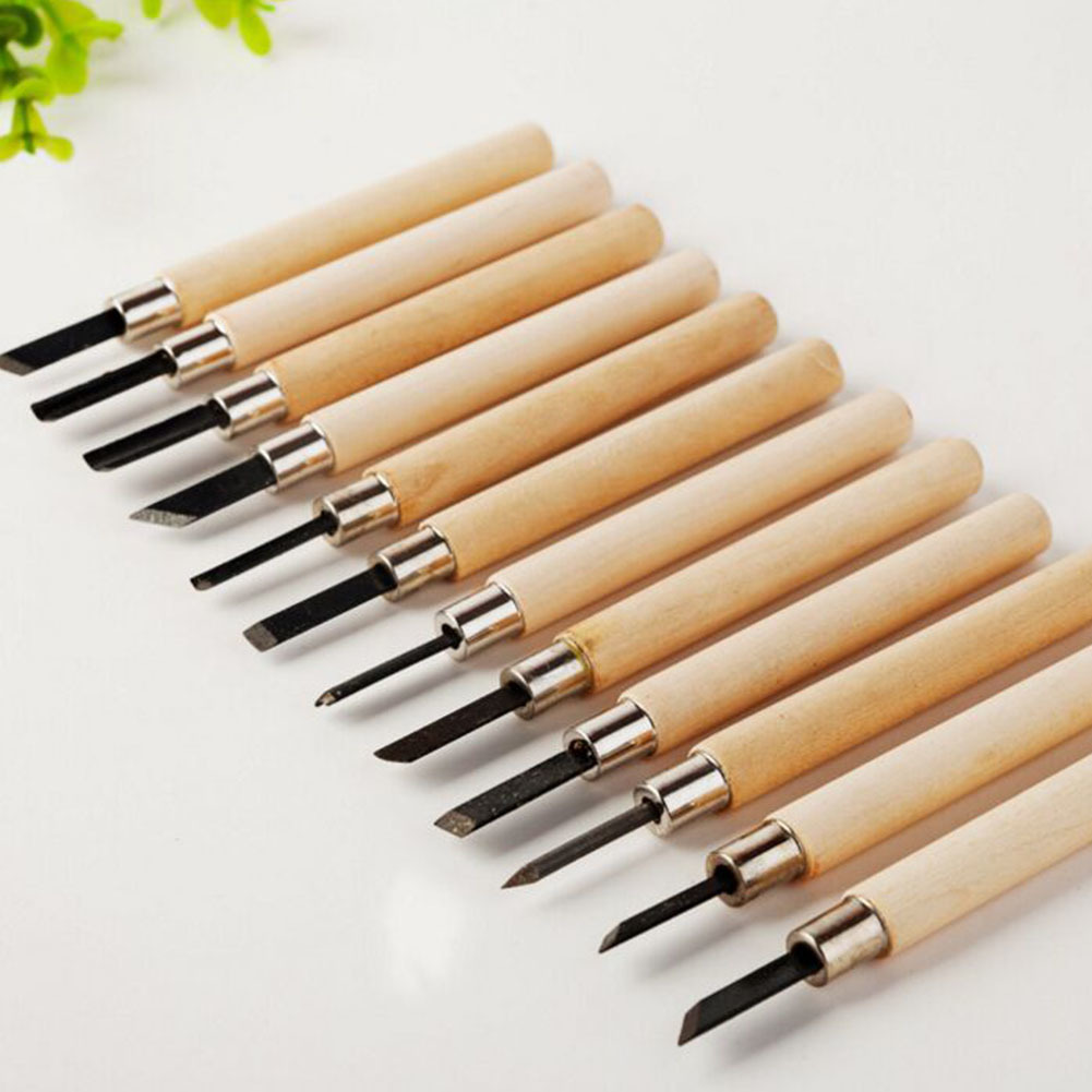 12 Pcs Craft Wood Carving Knives Tool Set Kit Art Stone Woodworkers Work