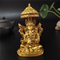 Золотая Статуя лорда Ганеши, Будда, слон, Бог, скульптуры, статуэтки, украшения для дома, украшения сада, статуи Будды