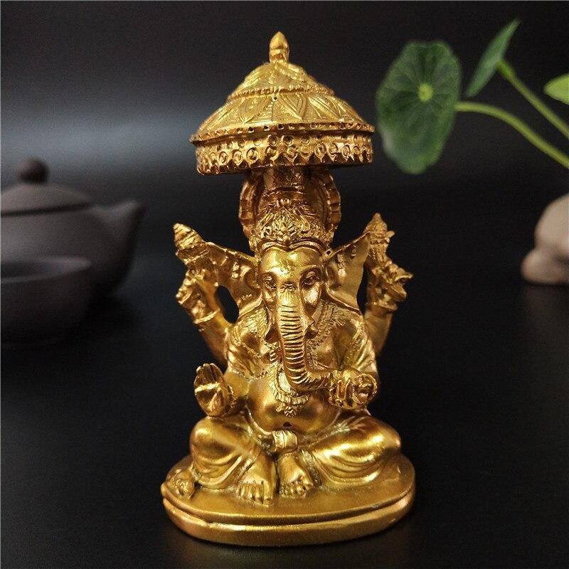 Golden Lord Ganesha รูปปั้นพระพุทธรูปช้างประติมากรรม Figurines เครื่องประดับเครื่องประดับสำหรับตกแต่งสวนหน...