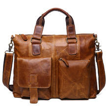 Genuine Leather Handbag Men s Messegner Bags Brand Crazy Horse Leather Handbag Retro Laptop Bag Business
