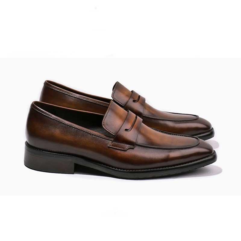 e15742659f05f8 Noir Black Chaussures Mens Slip Hommes Grimentin Sur Véritable Rétro Luxe  Cuir Mocassins brown En De ...