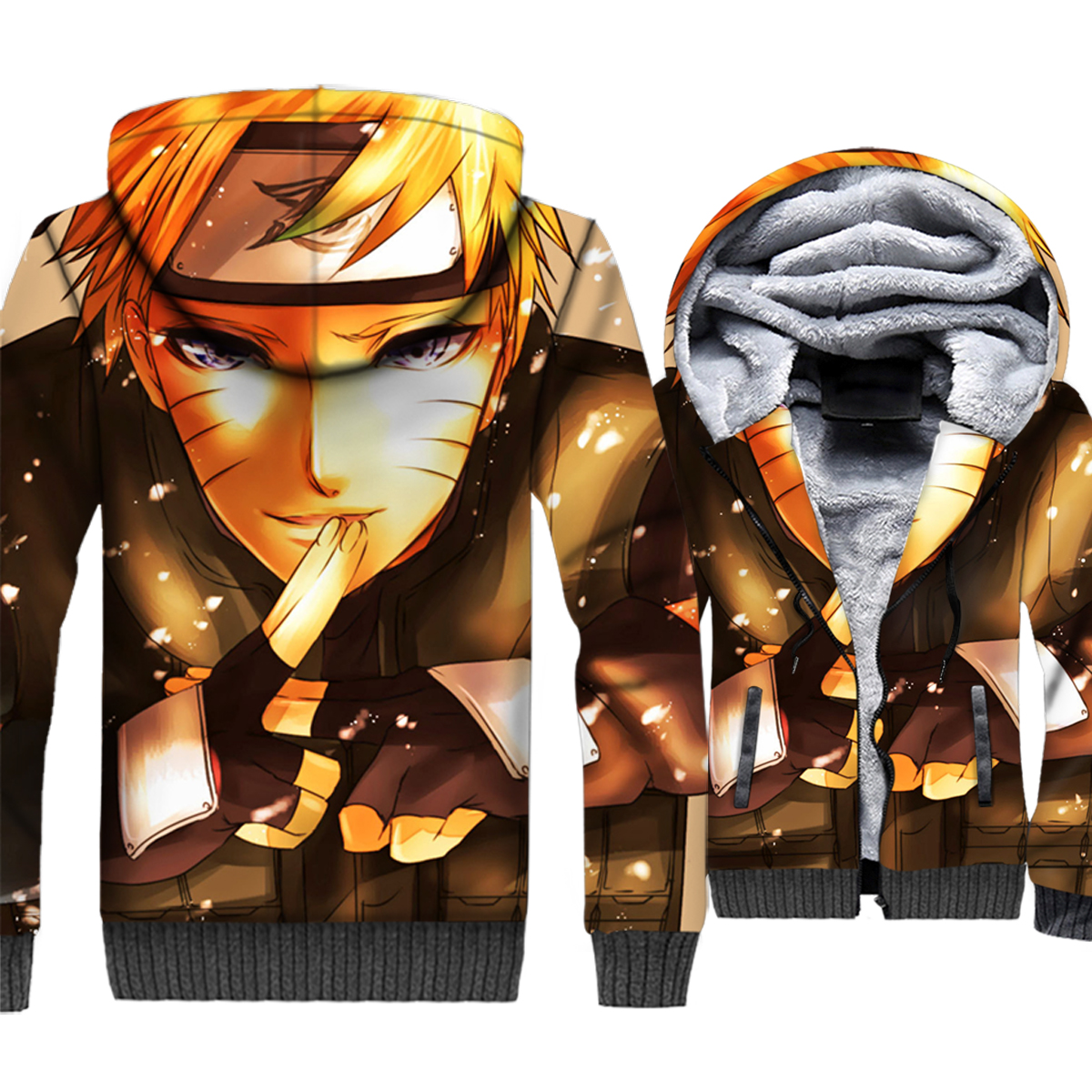 Naruto Uzumaki 3D Print Hoodie Men Japan Anime Harajuku Hooded Sweatshirt Winter Thick Fleece Zip up Coat Plus Size 5XL Jacket