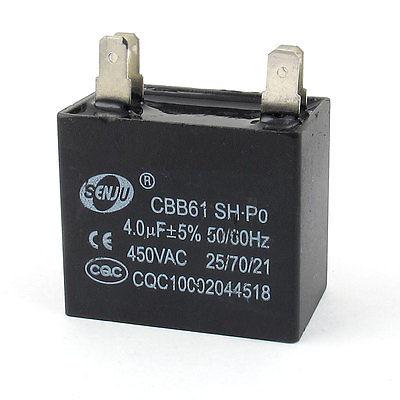 1 x  CBB61 AC450V 4uF 50//60Hz Non Polar Fan Motor Run Capacitors US Ship