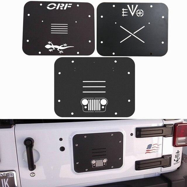 For 2007 2017 Jeep Wrangler JK JKU Spare Tire Carrier Delete Filler Plate Tramp Stamp Black Aluminuml Grille ORF EV0 Star