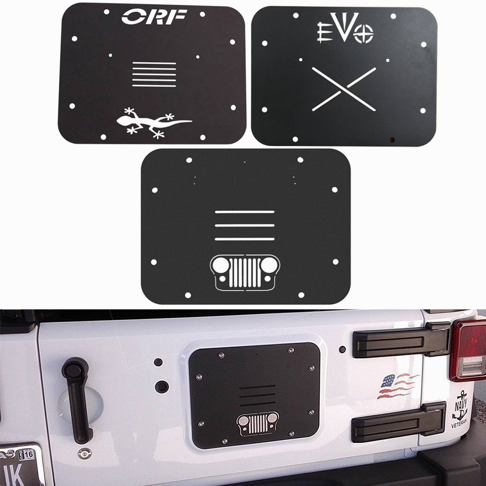 Pour 2007-2017 Jeep Wrangler JK JKU support de pneu de rechange supprimer plaque de remplissage Tramp timbre en aluminium noir (Grille/ORF/EV0/étoile)