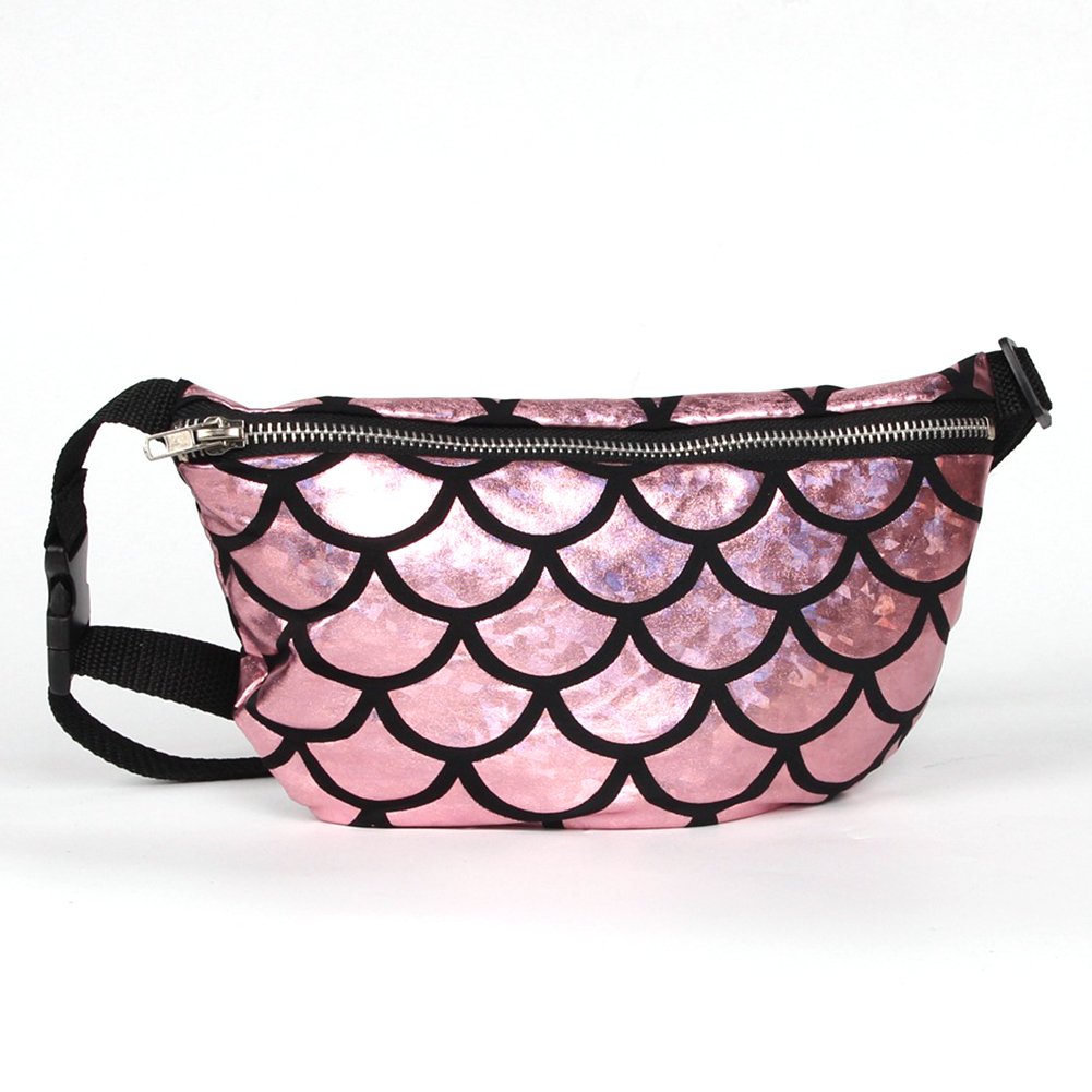 Travel Bag Small Washable Money Wallet Fish Scale Look Waist Bag Zipper Closure Holiday Multi Use Belt Pouch Crossbody