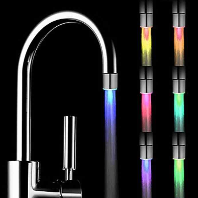 1 шт. Творческий кухня ванная комната Light светодиодный Up LED кран красочные изменяющееся свечение насадка насадки для душа водосберегающий фильтр без батарея Suppy