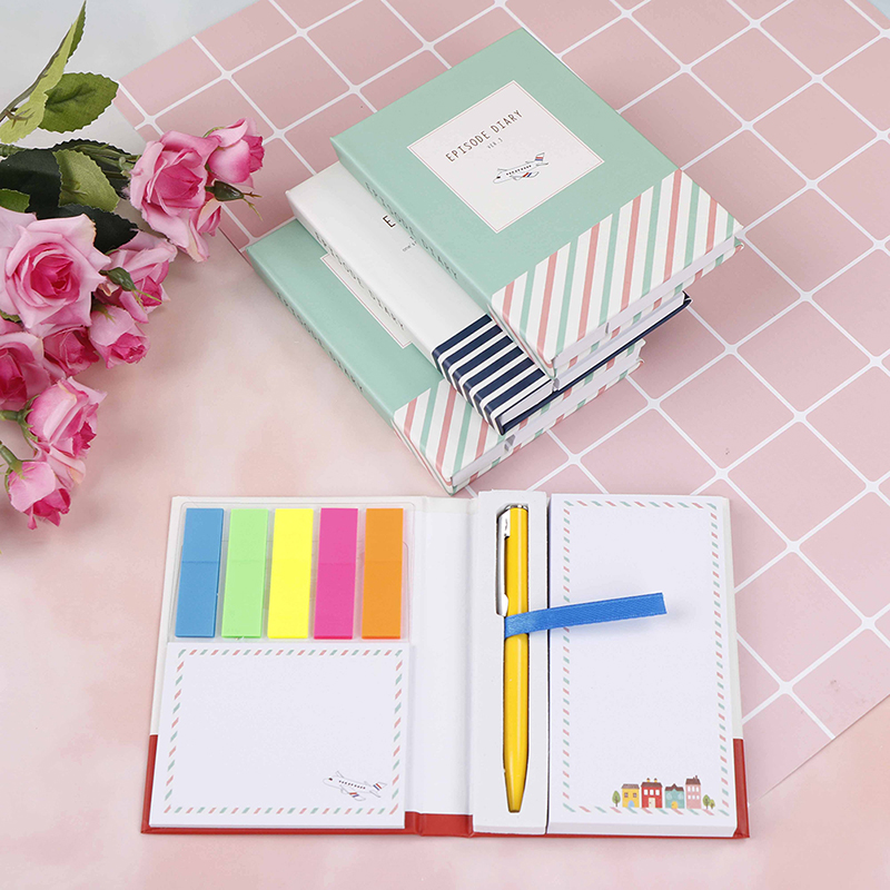 Mini Notebook With Pen Hardcover Sticky Combination Trivial Book Diary Notepad Office School Memo Pad Random Colorful