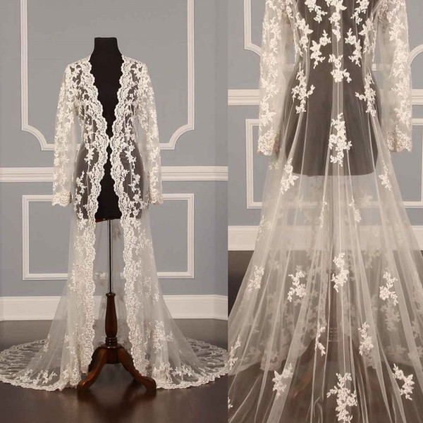 Long Lace Bridal Jackets Capes Long Sleeves Wraps Wedding Jackets Appliqued Lac Court Train Vintage Hot Sale Wedding Accessories