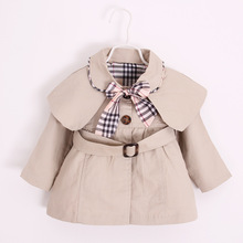 spring autum new infant clothes baby girls overcoat plaid kids jacekt england style outfits for children