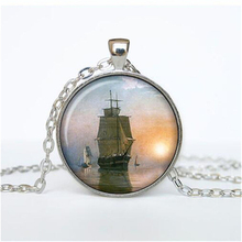 Old Sailing Ship Necklace Men Women Vintage Sail Ship Pendant Statement Choker Necklace Nautical jewelry HZ1