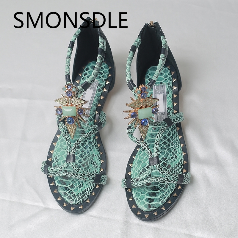 2018 Hot Summer Sandals Genuine Leather Shoes Woman Rome Gladiator Sandals Metal Crystal Back Zipper Flat Women Beach Shoes mvvjke summer women shoes woman genuine leather flat sandals casual open toe sandals women sandals