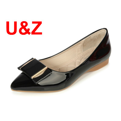 Big Size 31-43 Trend women flats air-cushioned insole pointed toe shoes,Red/Black/Beige patent leather bow Loafers office shoes цена