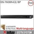 HIK 8CH NVR DS-7608N-E2/8 P con 8POE de 5MP HD Grabador de Vídeo en Red para la Cámara IP Grabador Multi-idioma 2 Interfaz SATA