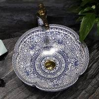 Blue and white porcelain stage basin jingdezhen porcelain wash basin Chinese style stage basin petal art basin