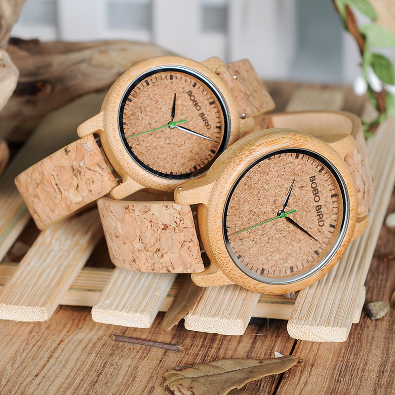 BOBO BIRD Lovers Watches Wooden Timepieces Handmade Cork Strap Bamboo Women Watch Luxury in Box Accept