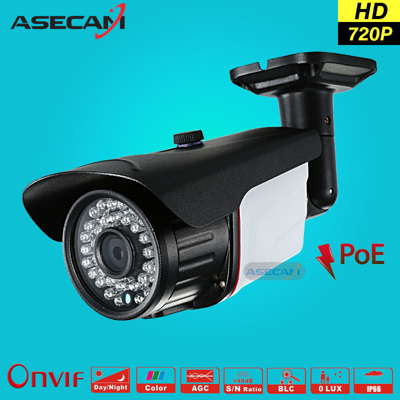 Asecam HD 720P CCTV Infrared 48V POE IP Camera Black Bullet Metal Waterproof Outdoor Onvif WebCam Security Surveillance p2p wistino cctv camera metal housing outdoor use waterproof bullet casing for ip camera hot sale white color cover case