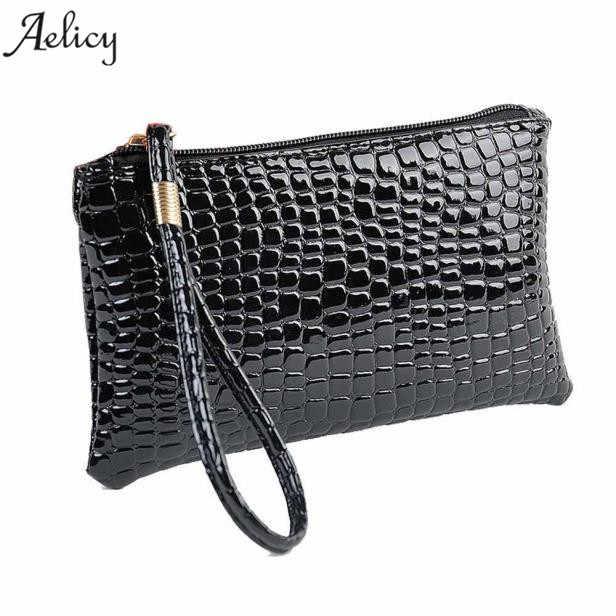 Aelicy 2018 nueva cartera de moda para mujer de cuero Retro de piel de cocodrilo PU con cremallera bolsos sólidos para mujer y Bolsos De Mujer