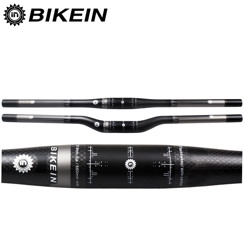 BIKEIN Ultralight Full 3k Carbon Mountain Bike <font><b>Handlebar</b></font> 31.8mm Cycling MTB Flat/Rise <font><b>Handlebars</b></font> Matte Black Bicycle Parts 135g