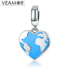 Buy earth charms and get free shipping on aliexpress veamor genuine 925 sterling silver blue enamel map rhythm sciox Choice Image