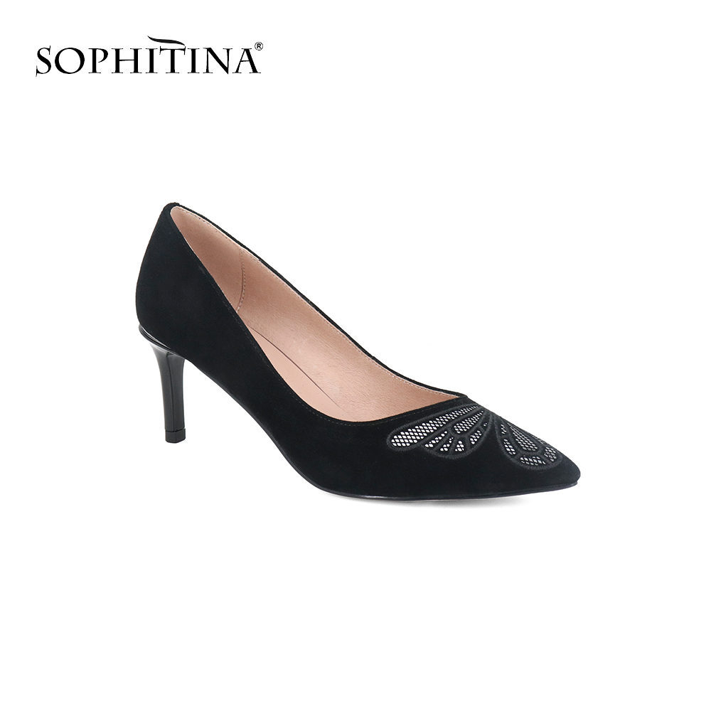 SOPHITINA High Quality Kid Suede Pumps High Thin Heels Pointed Toe Office Slip-On Womens Shoes Shallow Hot Sale New Pumps SC55SOPHITINA High Quality Kid Suede Pumps High Thin Heels Pointed Toe Office Slip-On Womens Shoes Shallow Hot Sale New Pumps SC55