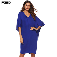 PGSD New Spring summer Simple Fashion Pure color Womens Clothes Leisure Loose Bat Sleeve Deep V Irregular short Dress female