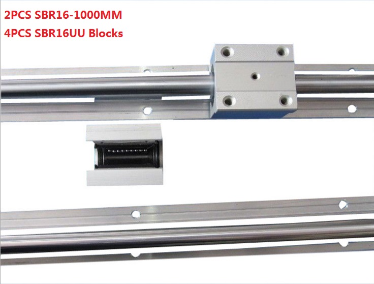 2pcs SBR16-1000mm linear guide+4pcs SBR16UU linear blocks for cnc router 2pcs sbr25 l1500mm linear guides 4pcs sbr25uu linear blocks for cnc
