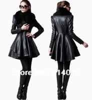 New Arrival 2014 Leather Clothing Fashion Casual Winter Black Leather Jacket Ruffles Fur Leather Jackets For