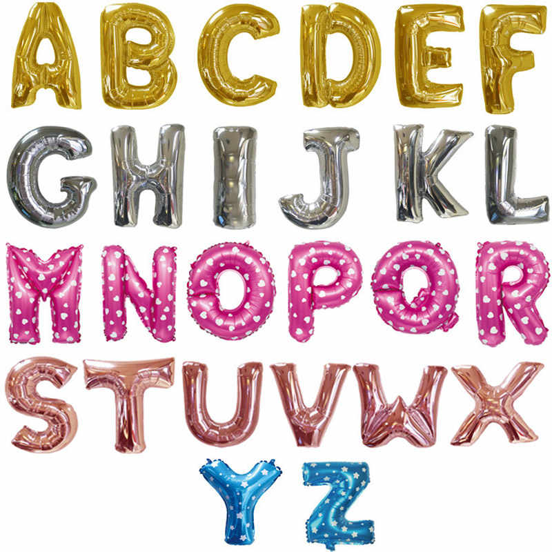 16 Inch Aluminum Foil Small Balloon Alphabet Letter Balloons Wedding Birthday Party Decorations Kids Adult Rose Gold Pink Ballon