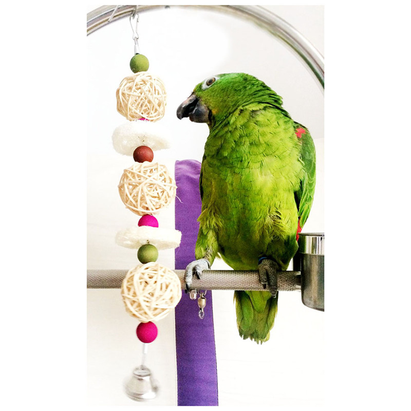 2016 New Arrival Parrot Bird Perches Stand Pet Budgie Hanging Cage  odontoprisis Loofah cane Sepak Takraw toy Birds Accessories-in Bird Toys  from Home