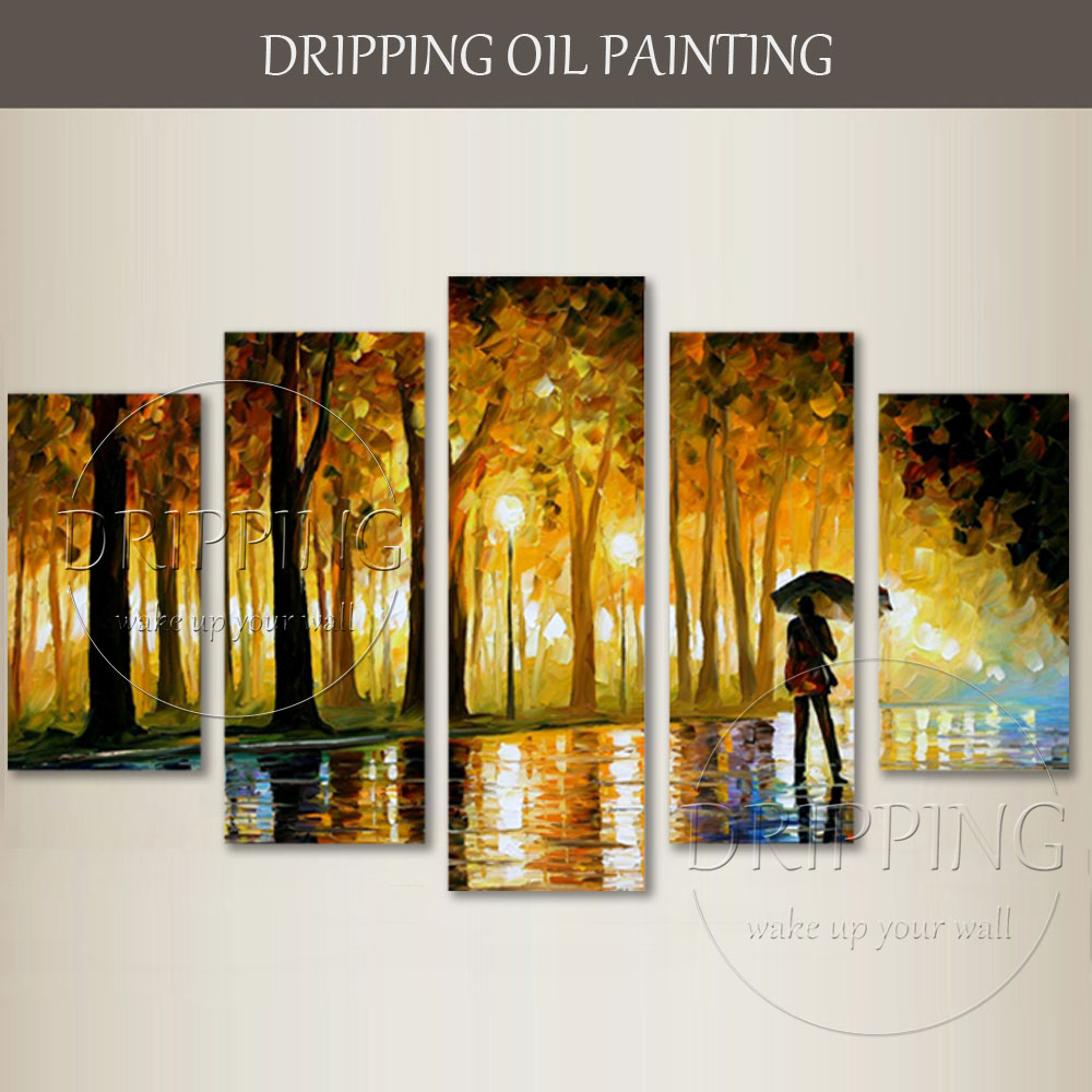 Us 104 81 53 Off 5 Pieces Abstract Landscape Oil Painting Hand Painted Group 5 Panels Knife Painting People Walking Oil Painting For Living Room In