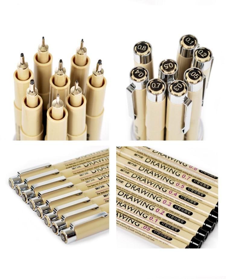 8 Pcs/pack Needle Drawing Pen Art Sets Hook Fine Point Line Pen