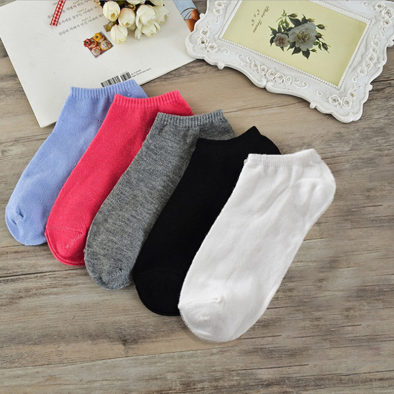 5colors Summer Autumn Cute Sugar color Cotton Women   Socks   Female Kawaii Summer Short   Socks   Slippers Women Casual Soft Funny Boat