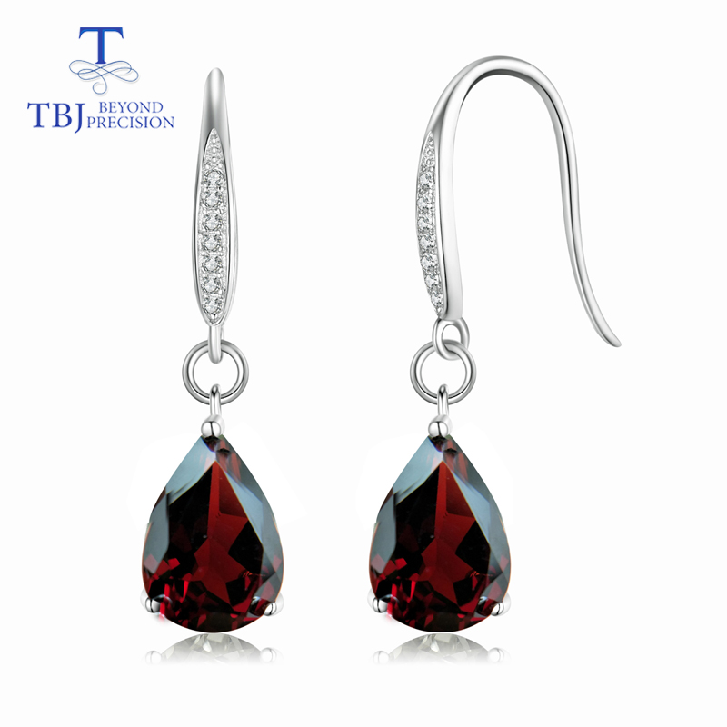цена на TBJ,Water Drop 8ct Genuine Mozambique garnet gemstone Dangle hook Earrings Pure 925 Sterling Silver Fine Jewelry For Women