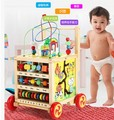 Multifunctional around the bead puzzle wooden baby walker Gallery push walker toy 1-3 years old.
