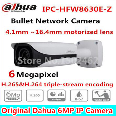 DAHUA 6mp IR Bullet Network Camera 4.1~16.4mm motorized no Logo IPC-HFW8630E-Z, free DHLshipping bullet camera tube camera headset holder with varied size in diameter