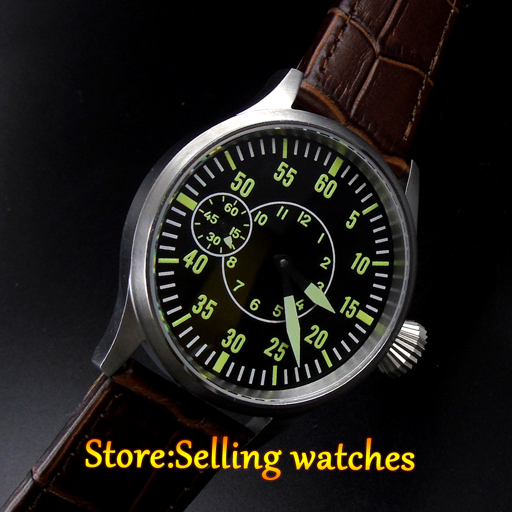 parnis 44mm black dial green number sterile 17 jewels hand winding mechanical 6497 movement corgeut men