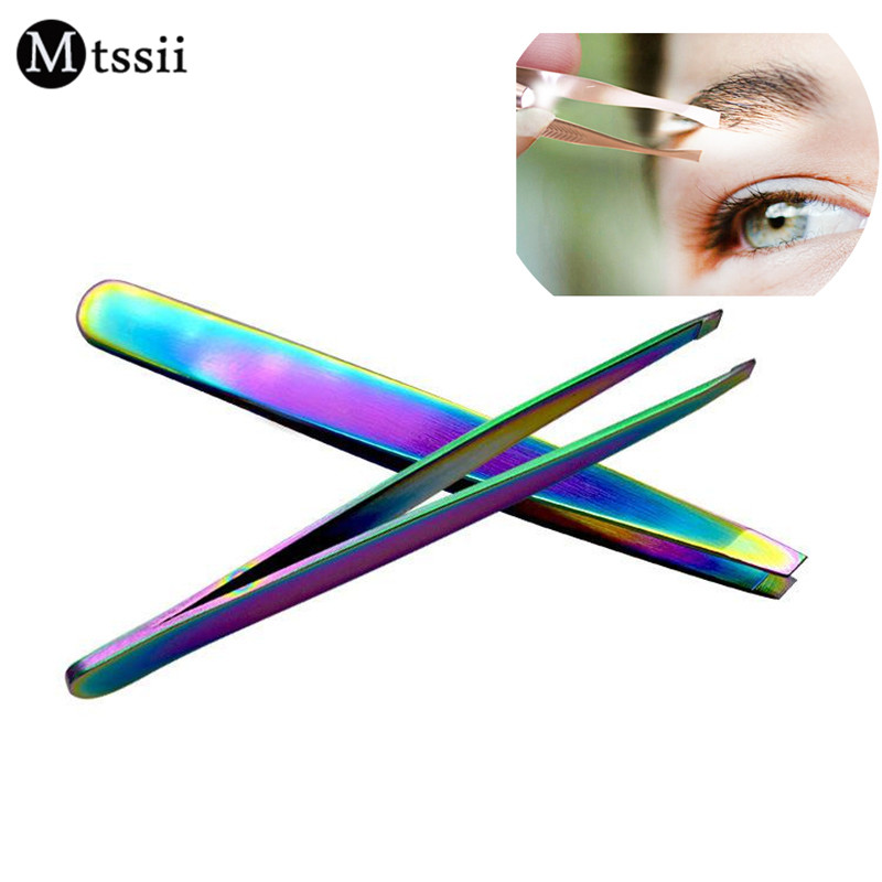 Mtssii 1pcs Professional Stainless Steel Useful Slant Tip Hair Removal Eyebrow Tweezer Makeup Tool