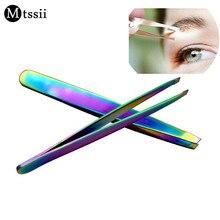Mtssii 1pcs Professional Stainless Steel Useful Slant Tip Hair Removal Eyebrow Tweezer Makeup Tool