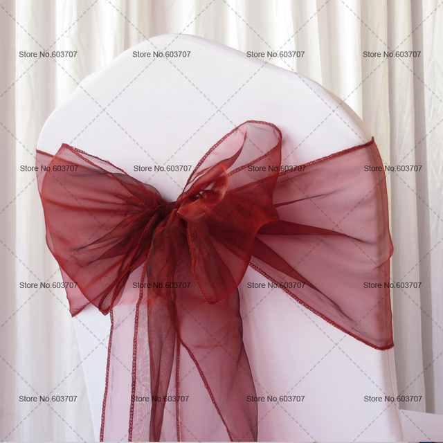 dark burgundy organza chair sash chair back tie 100pcs a lot for