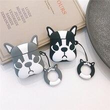 עבור AirPods מקרה חמוד Cartoon כלב אוזניות מקרים עבור Apple Airpods 2 כיסוי אופן בסיסי עם אצבע טבעת רצועה