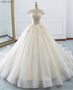 Image 1 - Amazing Ball Gown Wedding Dress Boat Neck Short Sleeves Vestidos De Novia Chapel Train Lace Up Plus Size With Embroidey