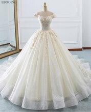 Niesamowite suknia balowa suknia ślubna z dekoltem w szpic krótkie rękawy Vestidos De Novia kaplica pociąg Lace Up Plus rozmiar z haft
