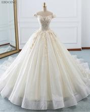 Robe De mariée avec col bateau, manches courtes, robe De bal, grande taille avec broderie, à lacets