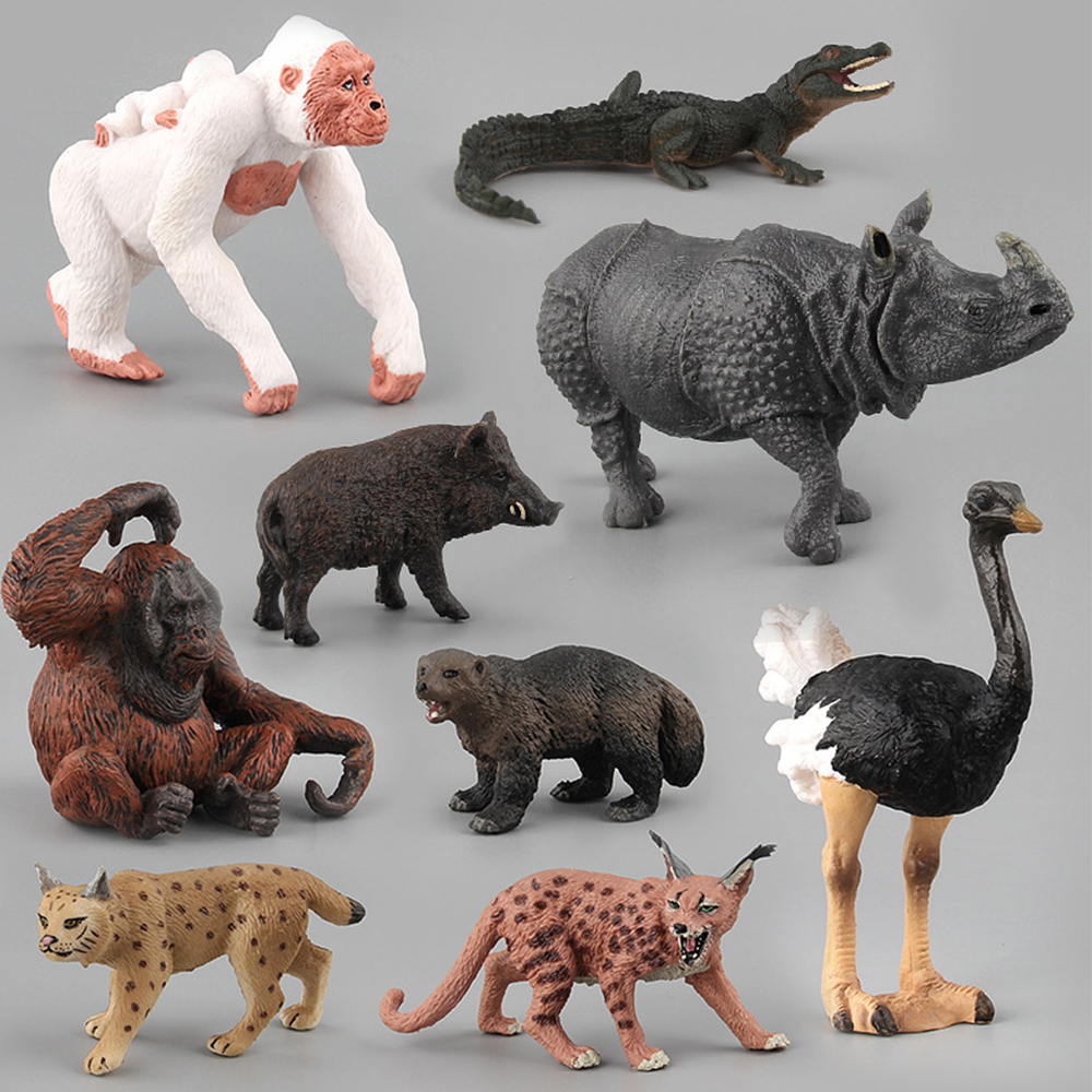 Simulation Animal Toys Children Kids Toy Gift Lynx Orangutan Crocodile Ostrich Wild Boar Model Action Figure Toys Figurine Dolls