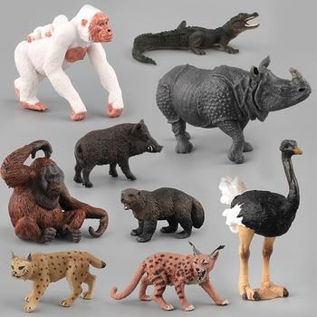цена на Simulation Animal Toys Children Kids Toy Gift Lynx Orangutan Crocodile Ostrich Wild Boar Model Action Figure Toys Figurine Dolls