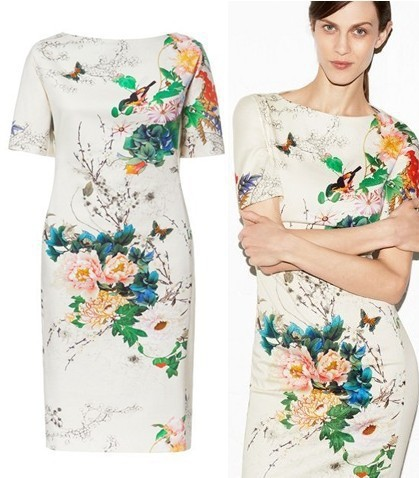 Summer Spring 2015 Short Sleeve White Cotton Blend Knee-length Chinese Air Style Flowers Floral Printed Cheongsam Dress Vestidos  -  Nanafast Fashion Shop store