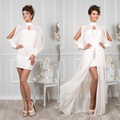 New Chiffon and Lace detachable Dress Short Wedding Dresses with long lantern sleeves high neck bridal gowns wedding gowns
