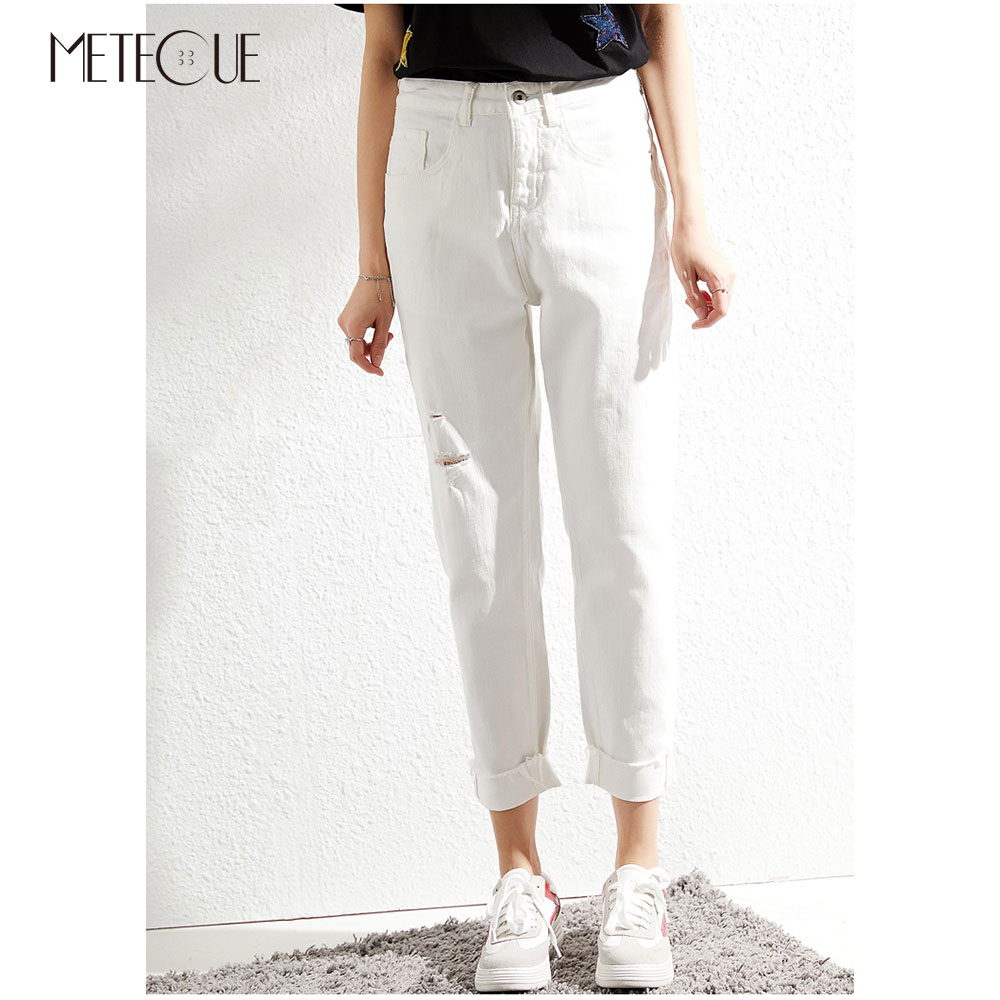 Jeans Dos Été Femmes Taille Broderie Pantalon Printemps Le Blanc 2019 Sur Avec Déchiré Haute 4qaU5x